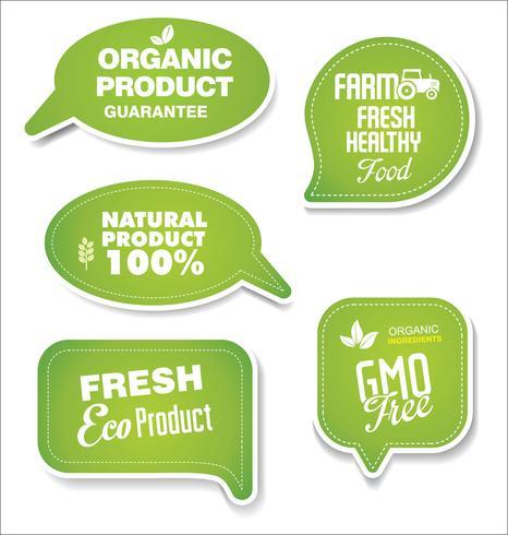 Naturliga ekologiska produkter grön samling av etiketter och märken vektor