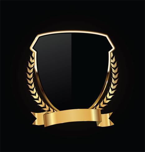 Guld och svart sköld med guld laureller vektor