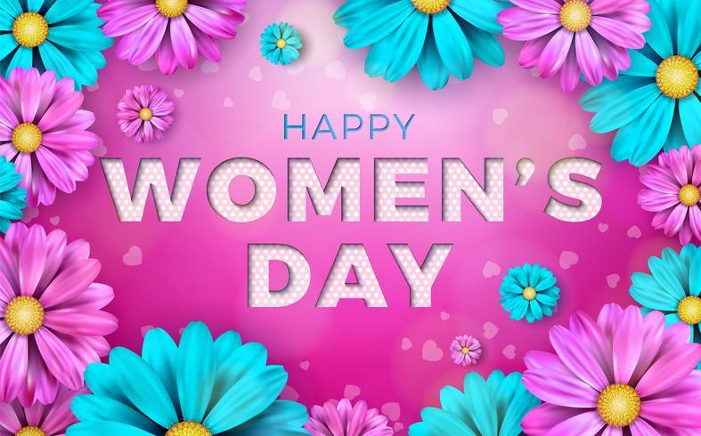 Lycklig kvinnodag blomning hälsningskort vektor