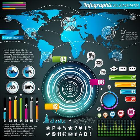 Världskarta och informationsgrafik vektor