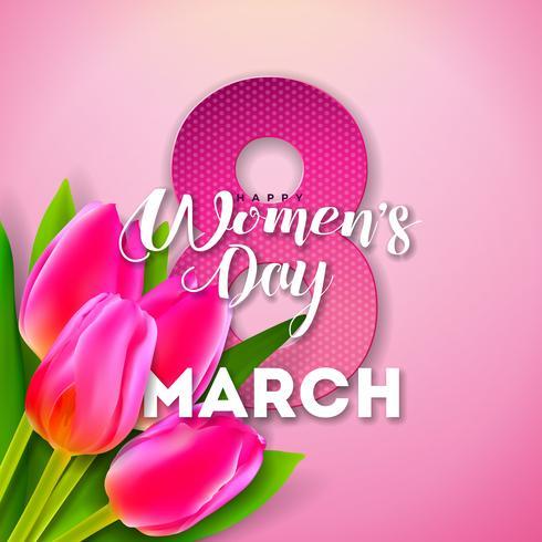 Lycklig kvinnodag Blom- hälsningskortdesign vektor