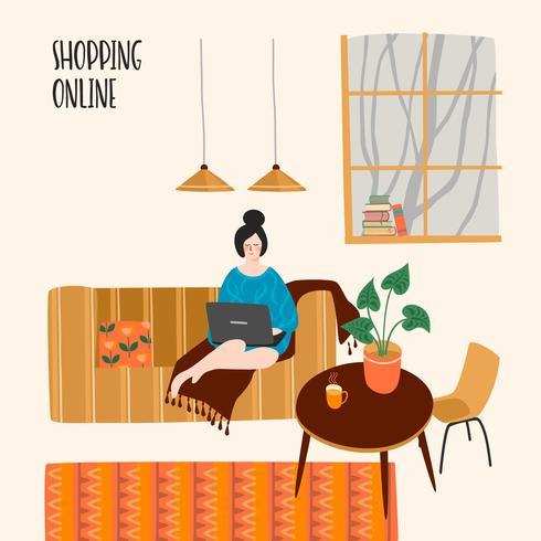 Vektor illustration av kvinna med laptop hemma. Koncept för shopping online och annan användning.