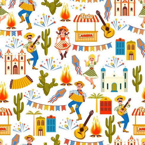 Lateinamerikanischer Feiertag, die Juniparty von Brasilien. Nahtloses Muster vektor