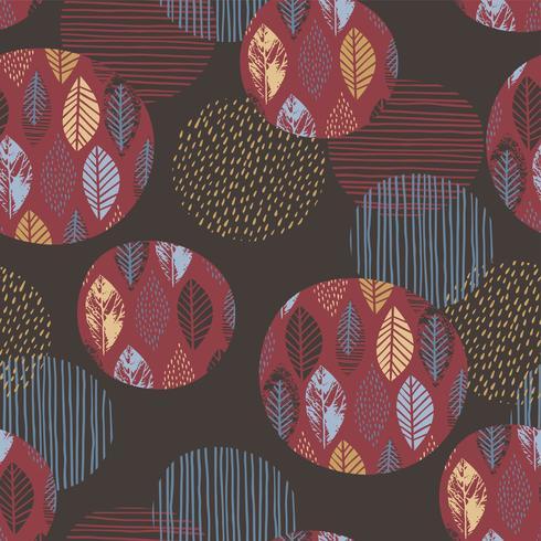 Nahtloses Muster des abstrakten Herbstes mit Blättern. vektor