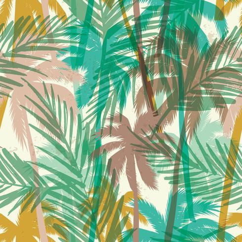 Tropiskt sommartryck med palm. vektor