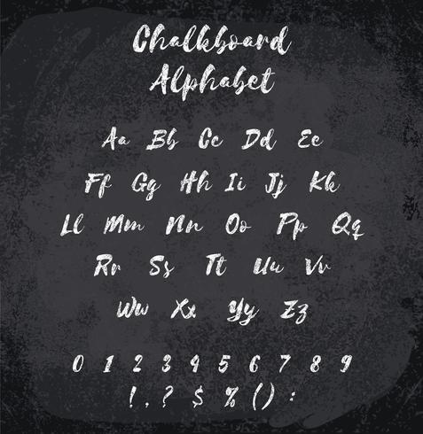 Vektorillustration des mit Kreide versehenen Alphabetes. Nachgemachte Beschaffenheit der Kreide vektor