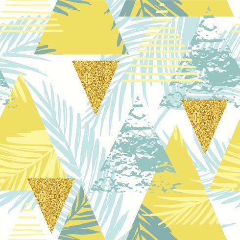 Nahtloses exotisches Muster mit Palmblättern auf geometrischem Hintergrund vektor