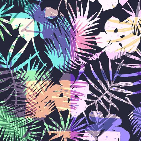 Nahtloses exotisches Muster mit tropischer Palme in der hellen Farbe. vektor