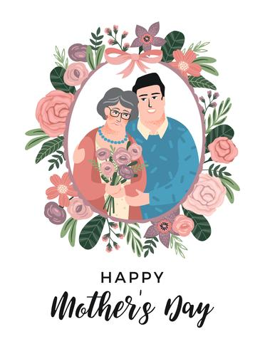 Glad mors dag. Vektor illustration med man, kvinna och blommor.