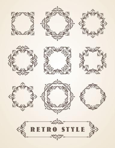 Set Retro Vintage Abzeichen, Rahmen, Etiketten und Grenzen. vektor