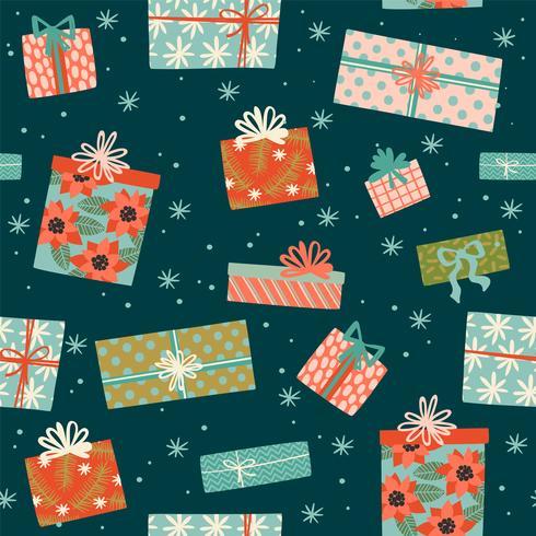 Nahtloses Muster des Weihnachten und des guten Rutsch ins Neue Jahr mit Geschenkboxen. vektor