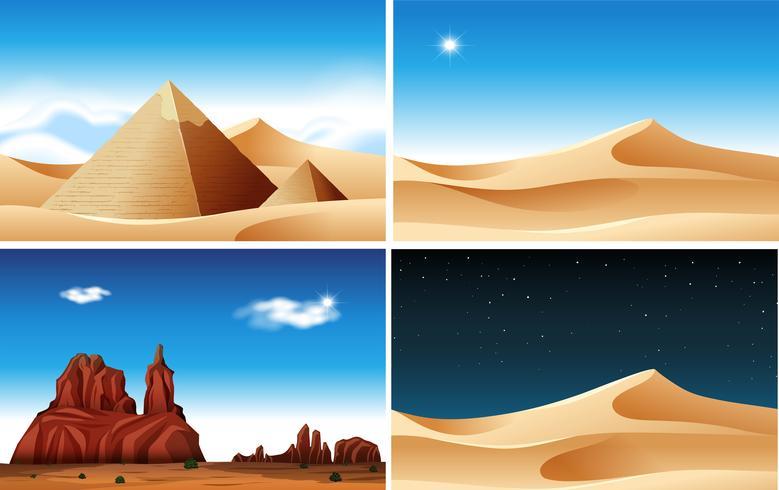 Dag och natt Desert Scen vektor