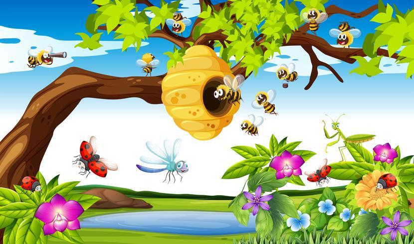 Bienen, die um den Baum im Garten fliegen vektor