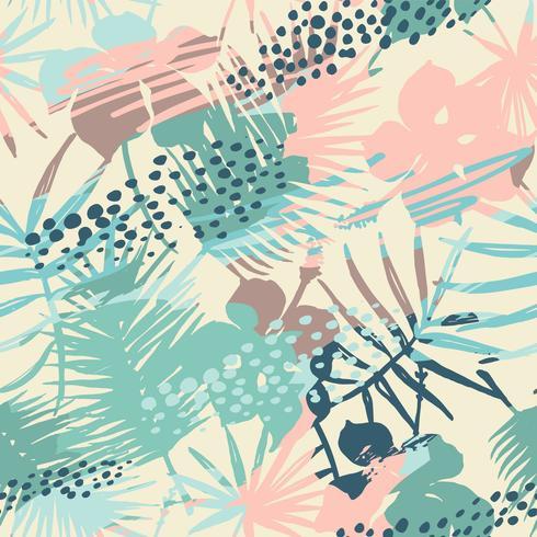 Nahtloses exotisches Muster mit tropischen Anlagen und künstlerischem Hintergrund. vektor