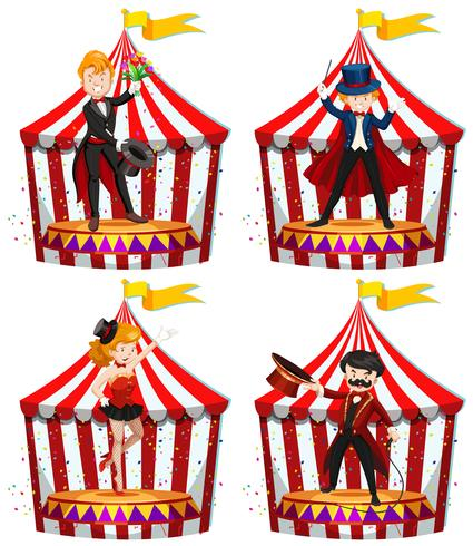 Set von Zirkusanimateuren vektor