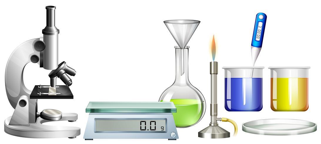 Science beakers och annan utrustning vektor