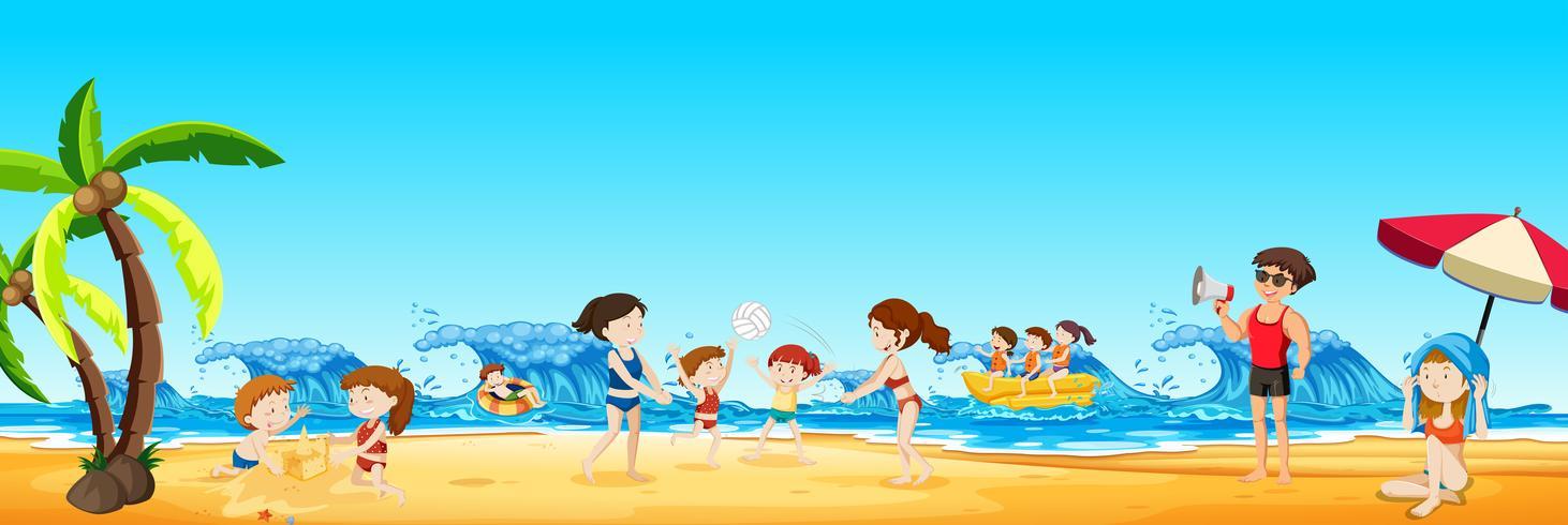 Scen av människor på stranden vektor