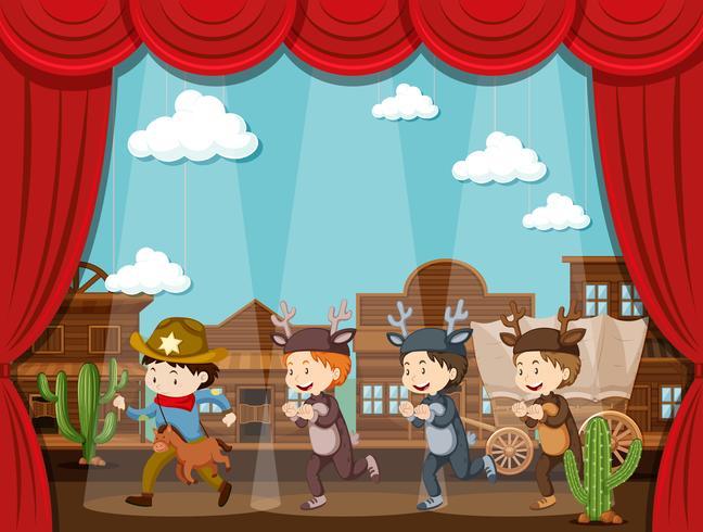Cowboy und Hirsch spielen auf der Bühne vektor