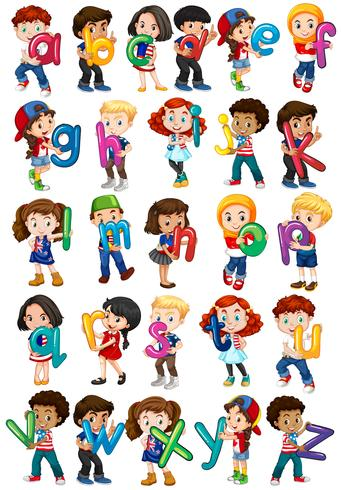 Kinder, die englische Alphabete halten vektor
