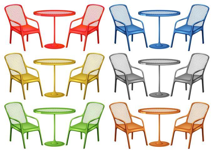 Stolar och soffbord i sex färger vektor