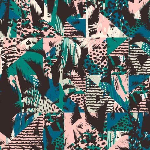 Trendigt sömlöst exotiskt mönster med palm- och djurprins vektor