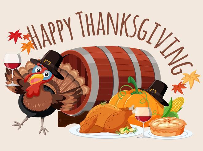 Lycklig tacksägelse mat mall vektor