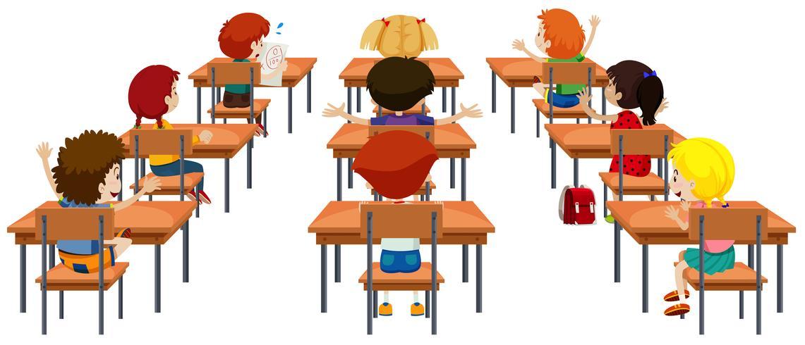 Student im Klassenzimmer isoliert vektor
