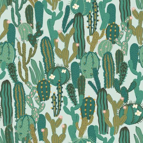 Vektor sömlöst mönster med kaktus. Upprepad konsistens med gröna kaktusar.