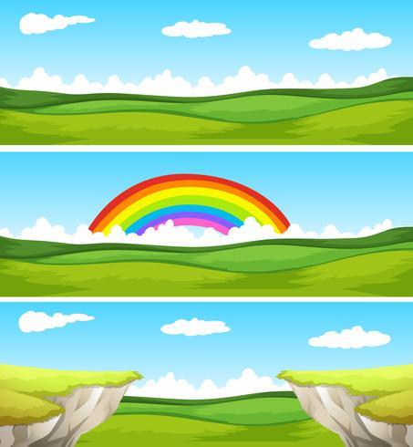 Tre natur scen med fält och klippa vektor