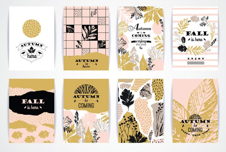 Set med konstnärliga kreativa höstkort. vektor