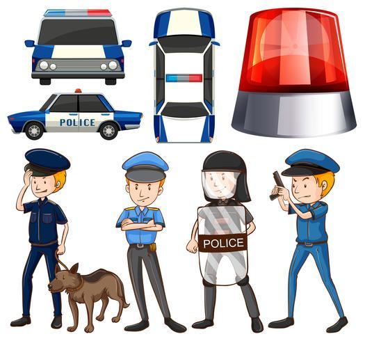 Polizist und Polizeiautos vektor