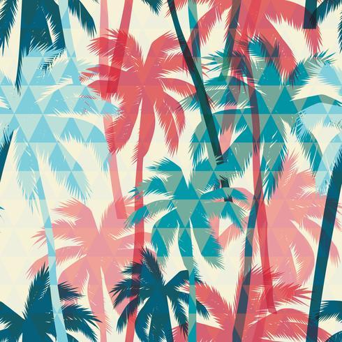 Nahtloses exotisches Muster mit Palme auf geometrischem Hintergrund. vektor