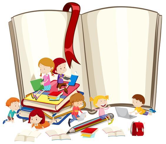 Barn läser böcker tillsammans vektor