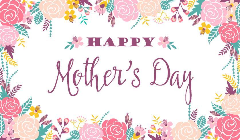 Lycklig mors dag bokstäver hälsning banner med blommor. vektor