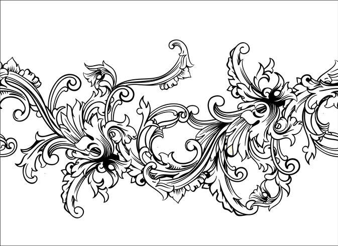 Zierrahmen, Rahmen. Barockes Muster Vektor nahtlos.