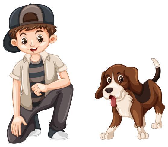 Liten pojke och söt beaglehund vektor