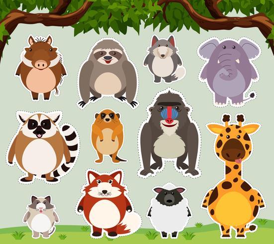 Klistermärke design för vilda djur på fältet vektor