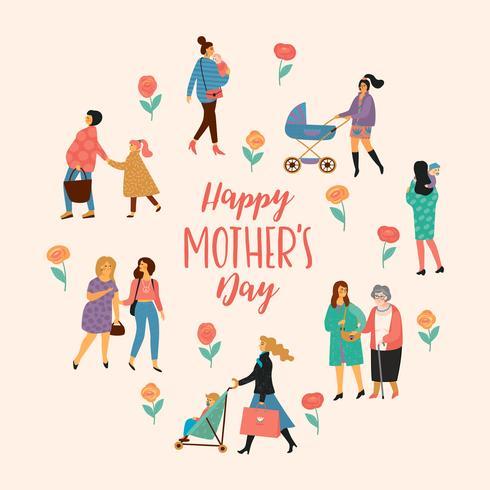 Schönen Muttertag. Vektorabbildung mit Frauen und Kindern. vektor