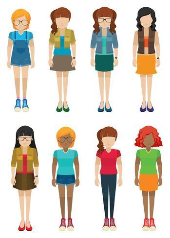 Mall av tjejer utan ansikten vektor