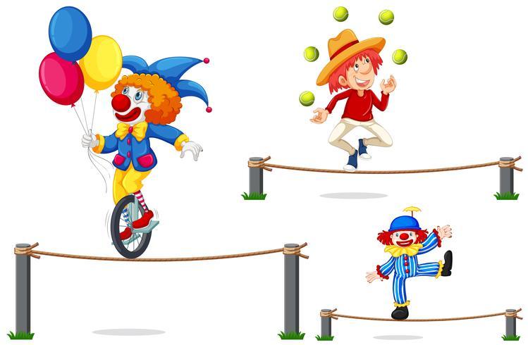 Eine Reihe von Zirkus Show auf weißem Hintergrund vektor