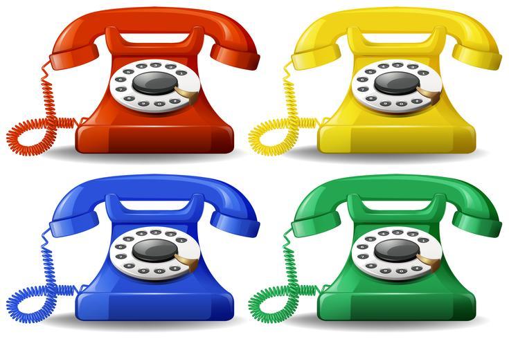 En uppsättning färgstarka klassiska telefoner vektor