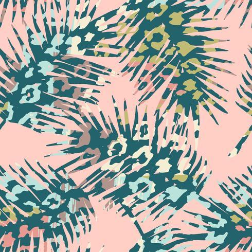 Trendigt sömlöst exotiskt mönster med palm, djurtryck och handritade texturer. vektor