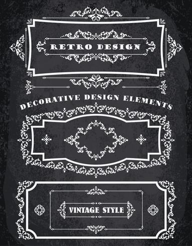 Set Retro Vintage Frames und Grenzen. Kreidebrett Hintergrund vektor