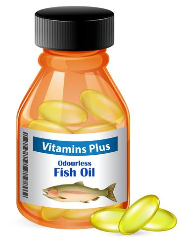 En flaska fiskoljekapslar vektor