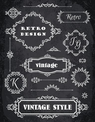 Set Retro Vintage Abzeichen, Rahmen, Etiketten und Grenzen. Kreidebrett Hintergrund vektor