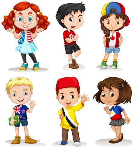 Pojkar och tjejer från olika länder vektor