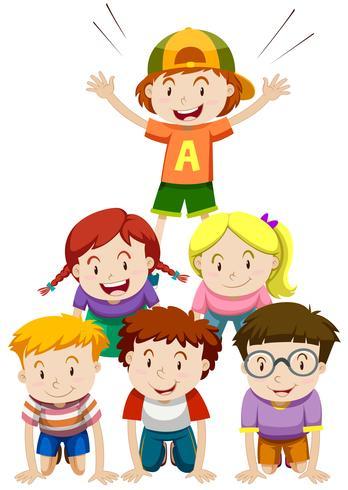 Kinder spielen menschliche Pyramide vektor