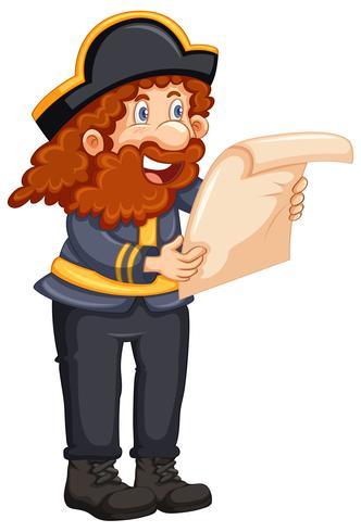 Pirat, der eine Karte auf weißem Hintergrund liest vektor