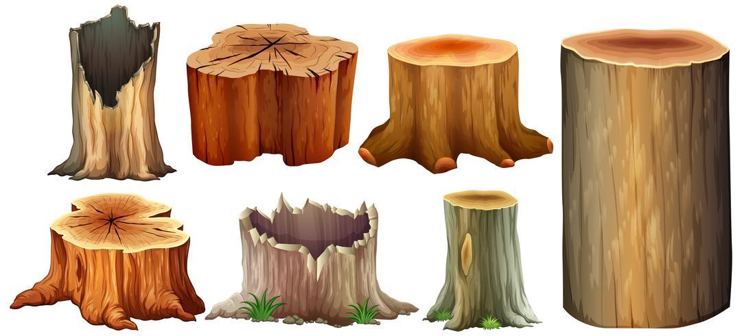 Olika typer av trädstubbe vektor