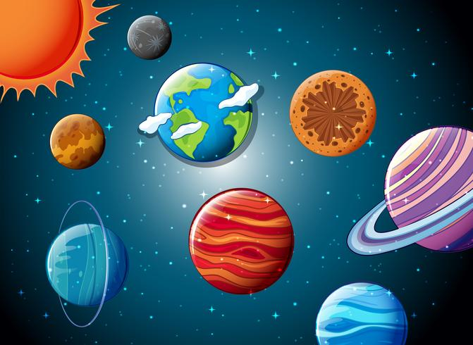 Solsystem i rymden vektor